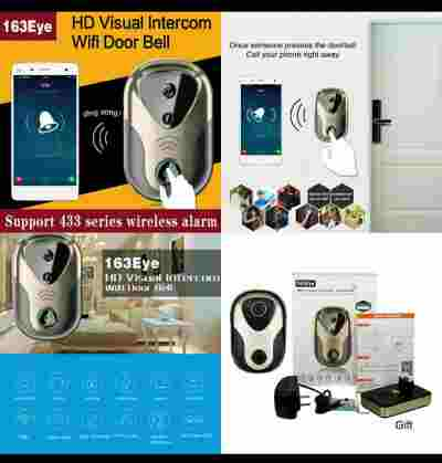 Video Door Intercom 163Eye HD Visual Alarm Door Bell WiFi Doorbell