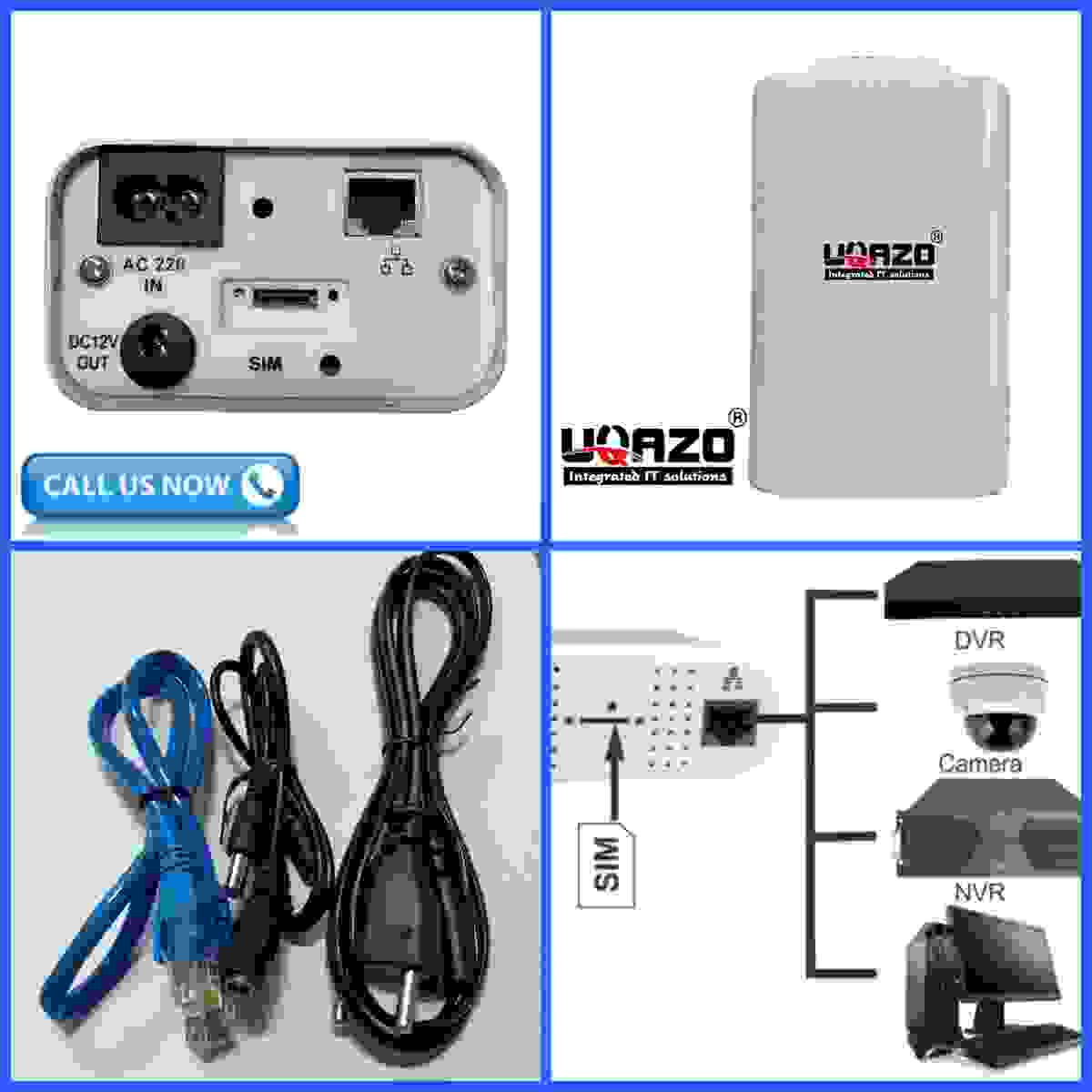 UQAZO 4G ROUTER+WIFI+LAN+WITH POWER+ WATERPROOF All GSM Sim Supported Special for CCTV Modem