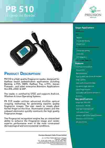Precision PB510 Biometrics NDLM, eKYC, STQC Certified for AADHAR FingerPrint Scanner