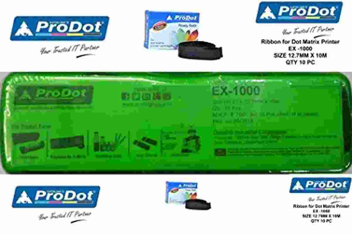 PRODOT Ribbon for DOT Matrix Printer EX-1000 Size (W X L) 12.7MM X 10M Pack of 10 Ready Refill