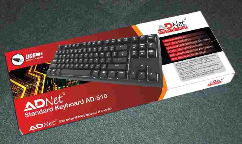 AdNet AD-510 USB Wired Standard Computer Keyboard
