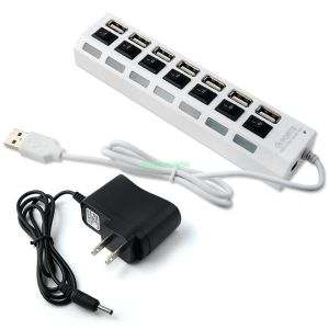 Adnet Hi-Speed 7 Port USB 2.0 Hi-Speed with Power Adapter Hub Switch