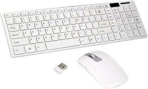 Adnet Wireless Keyboard With Mouse White Ultra-Thin 2.4G wifi Combo