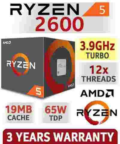 AMD Ryzen 5 2600 19MB Cache, 3.9 GHz 12x Cores AM4 Chipset 2nd Gen AMD Ryzen Desktop Processor