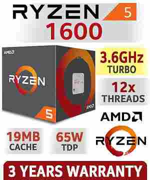 AMD RYZEN 5 1600 6-Core CPU 3.2 GHz Socket AM4 65W Desktop Processor