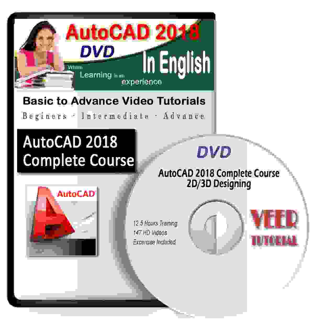 AutoCAD Tutorial DVD 2018 Complete Basic to Advance 12.5 Hrs 147 Training Videos