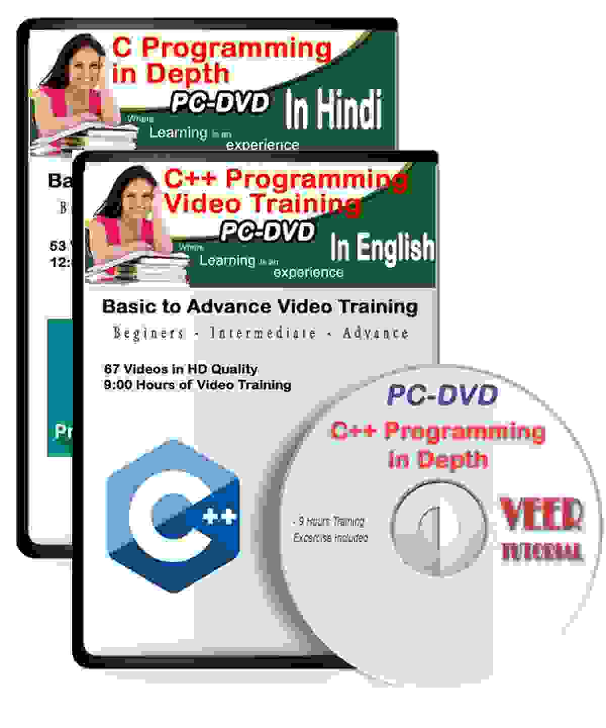 C/C++ Tutorial DVD Video Training (112 Vidoes, 21 Hrs) 2 DVDs Hindi+English Learning Video