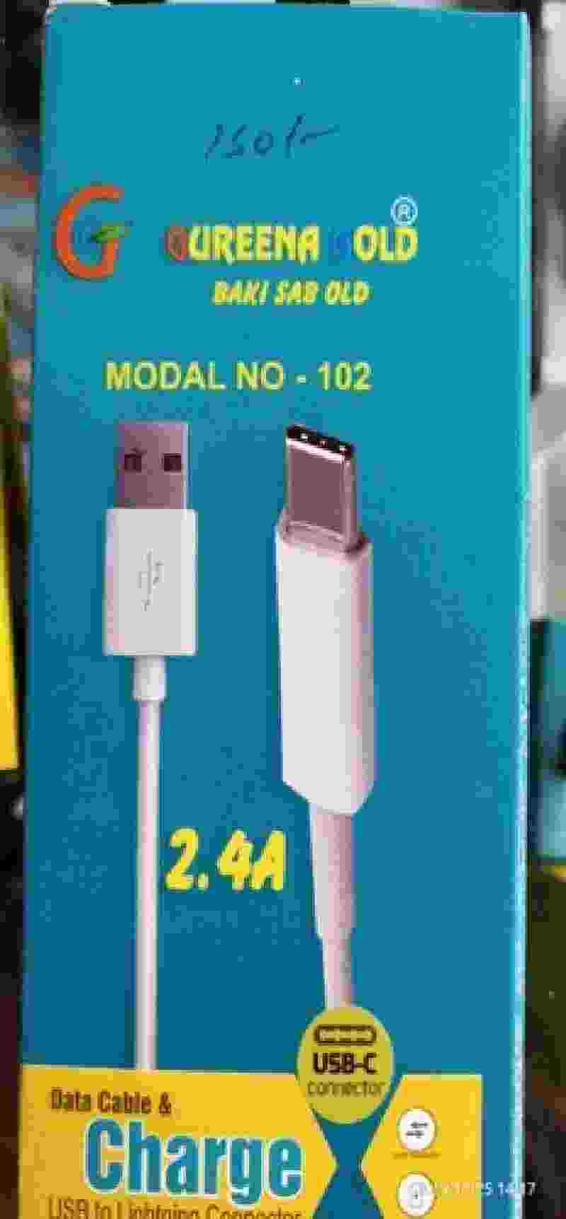 GUREENA GOLD 2.4A 102 Type C Fast Charging Data Cable