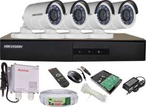 Hikvision Full Combo HDTVI-IRP Bullet Camera 4Pcs + Cable + 1TB HDD + HDTVI DVR 4 Chanel Camera