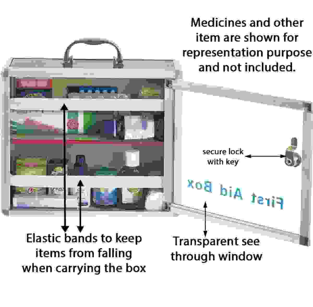 Kebica FIRST AID BOX Aluminium Transparent Box