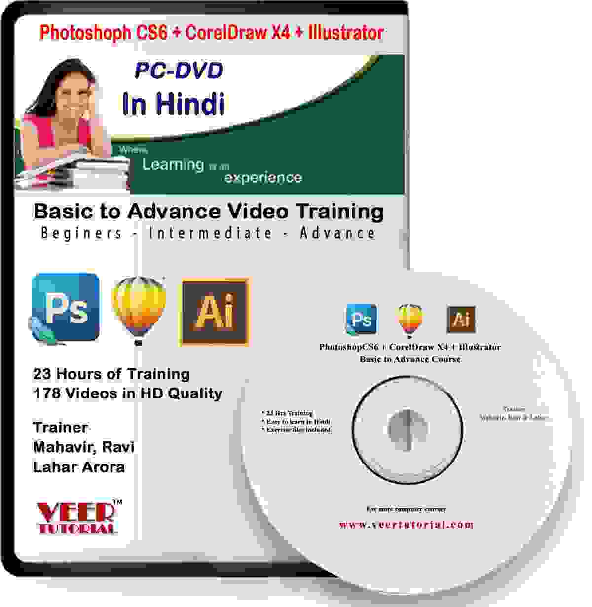 Photoshop+Coreldraw+illustrator DTP tutorials video Training 23 hrs DVD in Hindi Video