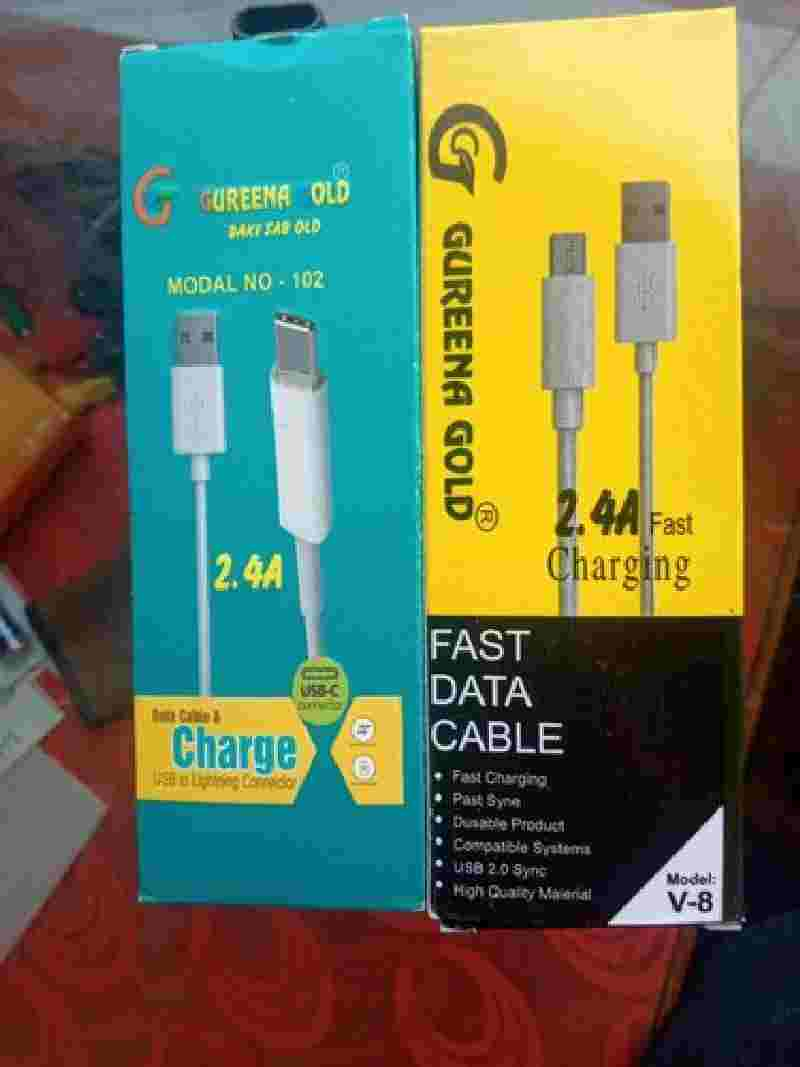 GUREENA GOLD 2.4A V-8 Type B Micro USB Fast Charging Data Cable
