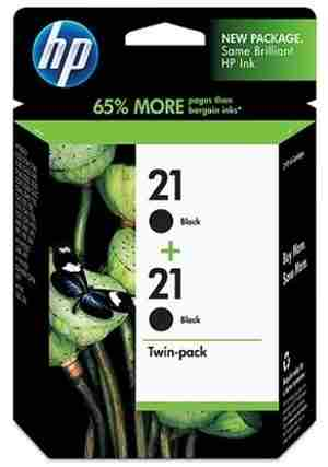 HP 21 2-Pack Double Twin Black Ink Cartridges