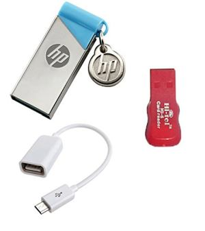 HP V 215 B 32 GB pendrive with OTG cable and card reader Combo Set