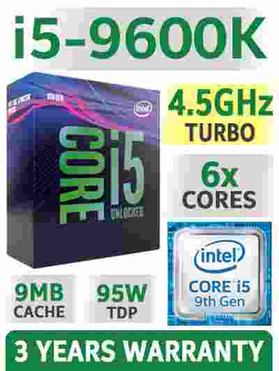 Intel Core i5-9600k 9MB Cache, 4.5 GHz 9th Gen 6x Cores LGA1151 Processor