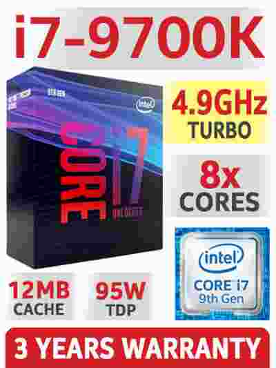 Intel Core i7-9700k 12MB Cache, 4.9 GHz 9th Gen 8x Cores LGA1151 Processor