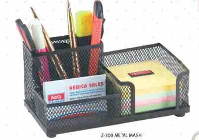 Kebica Z-300 Desk Organisers 3 Compartment Metal Mesh Pen/Pencil Holder