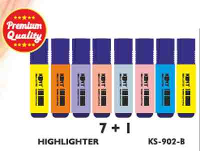 Kent Highlighters KS-902-8 Pack of 8 Pieces MultiColor Highlighter Pen