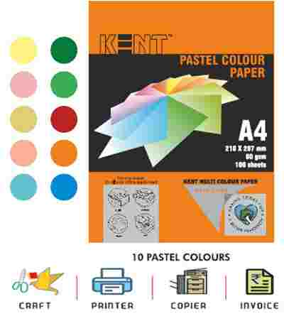 Kent Pastel Color Paper A4 Size 80gsm 100 PCs Double-Sided 10*10 Color Sheets