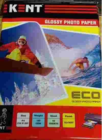 Kent Glossy ECO A4 Size,50 Sheet,180gsm Inkjet Printer Photo Printing Photo Paper Paper