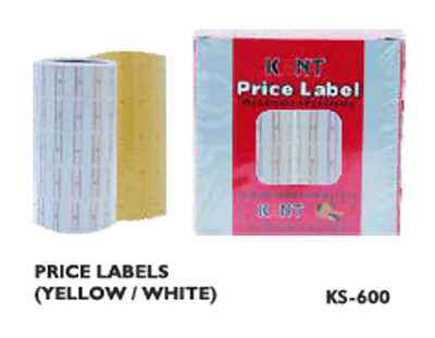 Kent Price Labels Paper Tag Mark Sticker KS-600 10 PCs White/Yellow Gun Labeller Roll