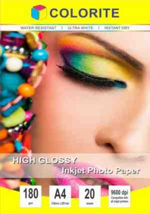 Colorite 180gsm A4 /20 sheets Inkjet High Glossy Photo Paper