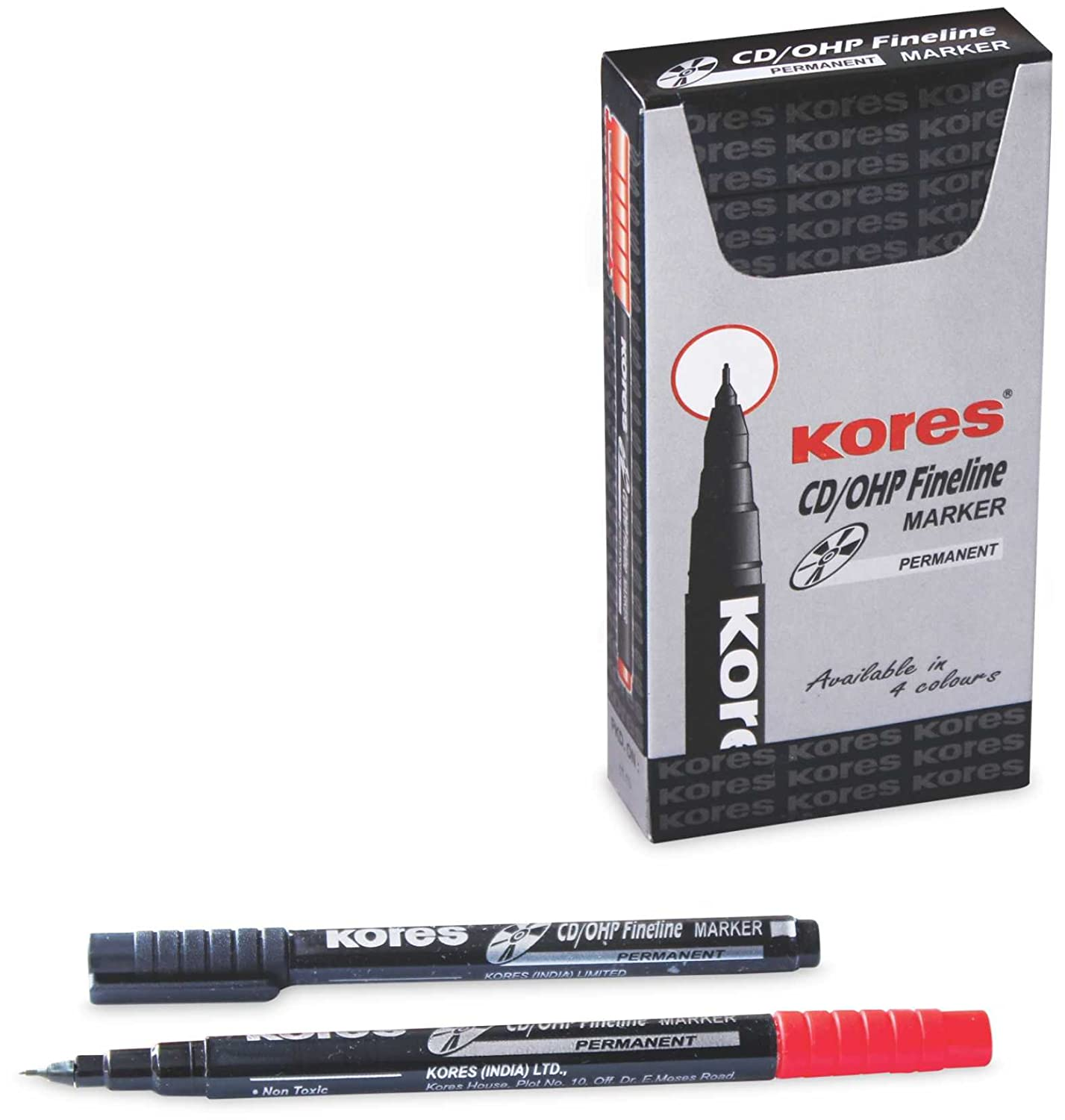Kores CD/DVD 5PCs Pack Red Marker Pen