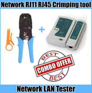 LAN Tester Network Cable + Crimping Tool RJ11 RJ45 - Best Combo Offer