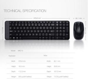 Logitech MK 215 Mouse Combo & Wireless Keyboard