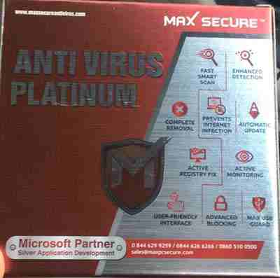 Max Secure Anti Virus Platinum 2018 10 User 1 Year CD Box