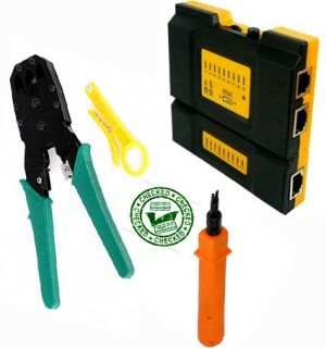 LAN Network Tool Kit Cable RJ45 RJ11 CAT5 Tester Crimp +Punch Down Impact