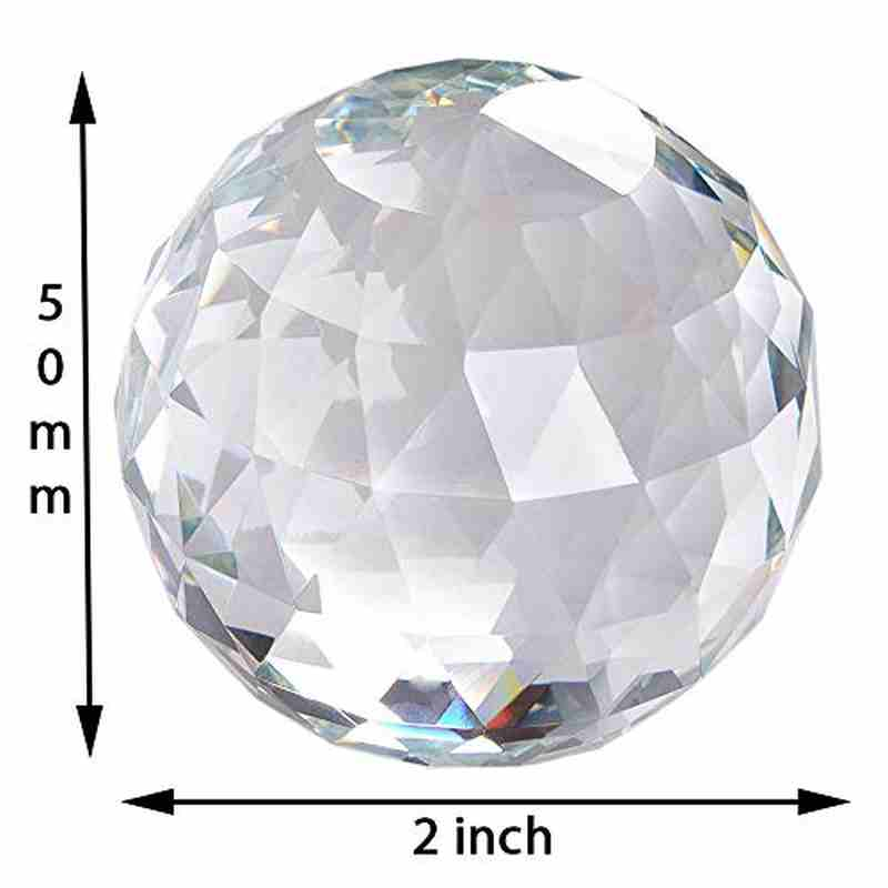 "Kebica 50mm (2"") Prism Cut Crystal Glass Ball Paperweight Home Decor Gift"