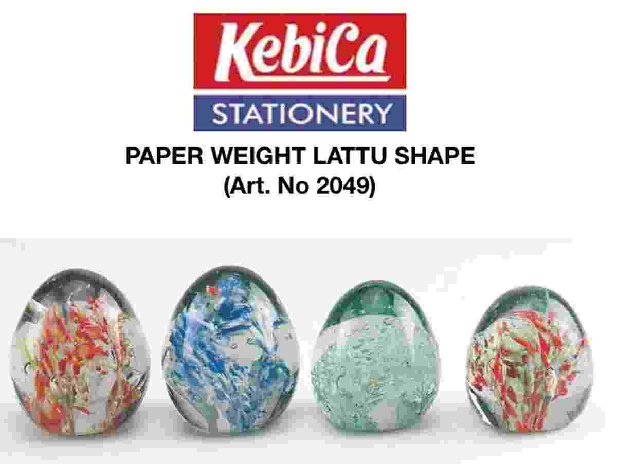Paper Weight Glass Egg/Lattu Shape ARN 2049 Transparent Crystal Multicolor Paperweight