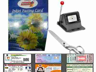 PVC Inkjet Pasting Sheet + Die Cutter + Heavy Scissor Complete Combo Kit For Making School, Office and All type of PVC Id Card