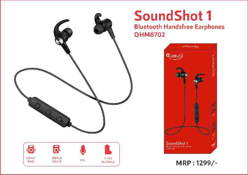 Quantum QHM8702 SoundShot 1 with Mic 5 Hours PlayBack Bluetooth Handsfree Earphone