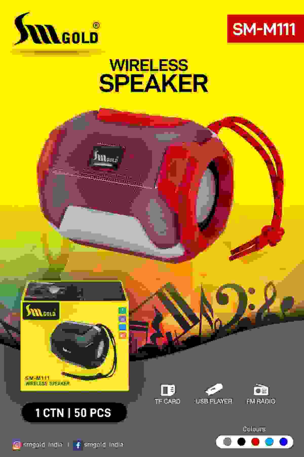 SM Gold SM-M111 Extra Bass TF FM Radio USB Wireless Bluetooth Speaker