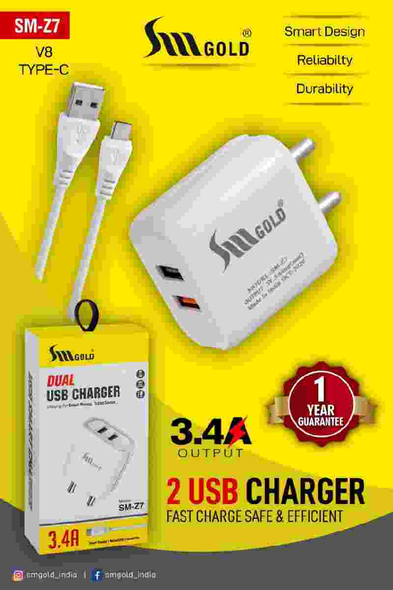 SM Gold SM-Z7 3.4A 2 Port Dual Fast Mobile USB Charger