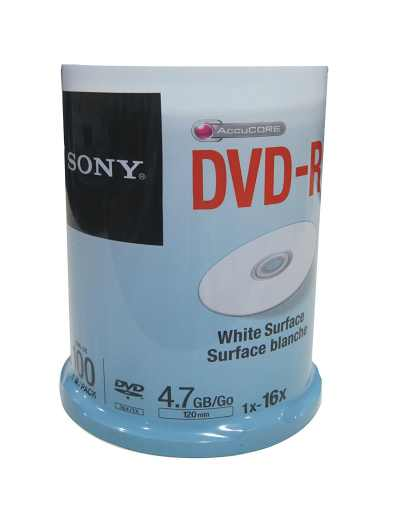 Sony DVD+R 100 Pack Spindle Printable White Recordable DVD Media
