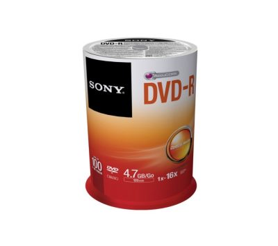 Sony DVD+R 100 Pack Spindle Printed Blank Recordable DVD Media