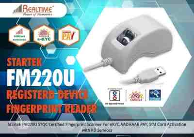 Startek FM220U eKYC, STQC, NDLM Certified for AADHAR Single FingerPrint Scanner