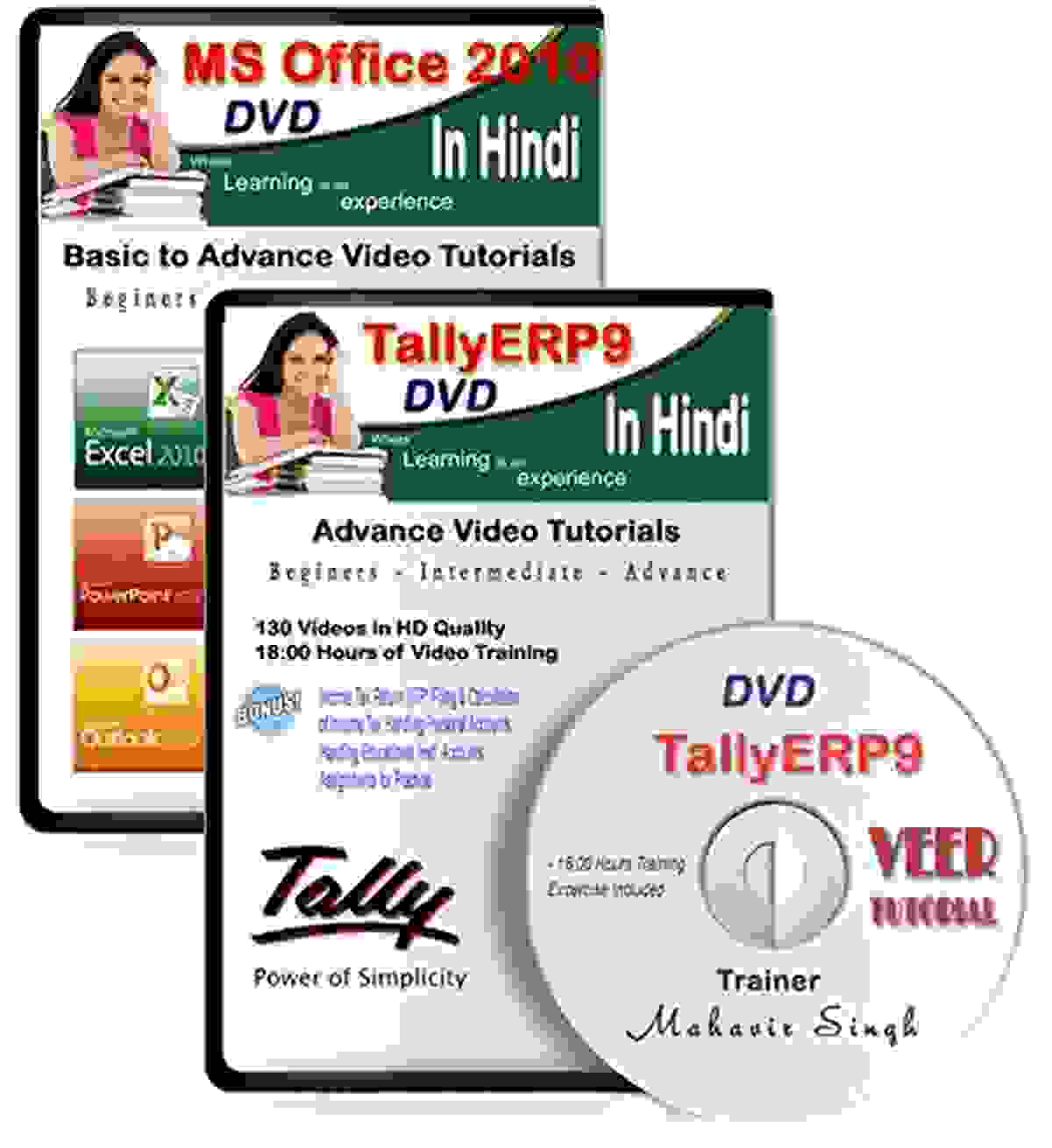 TallyERP9 Tutorail DVD Latest Version with GST + MS Office Latest Version (300 HD Video, 28 Hrs) 2 DVD in Hindi Video