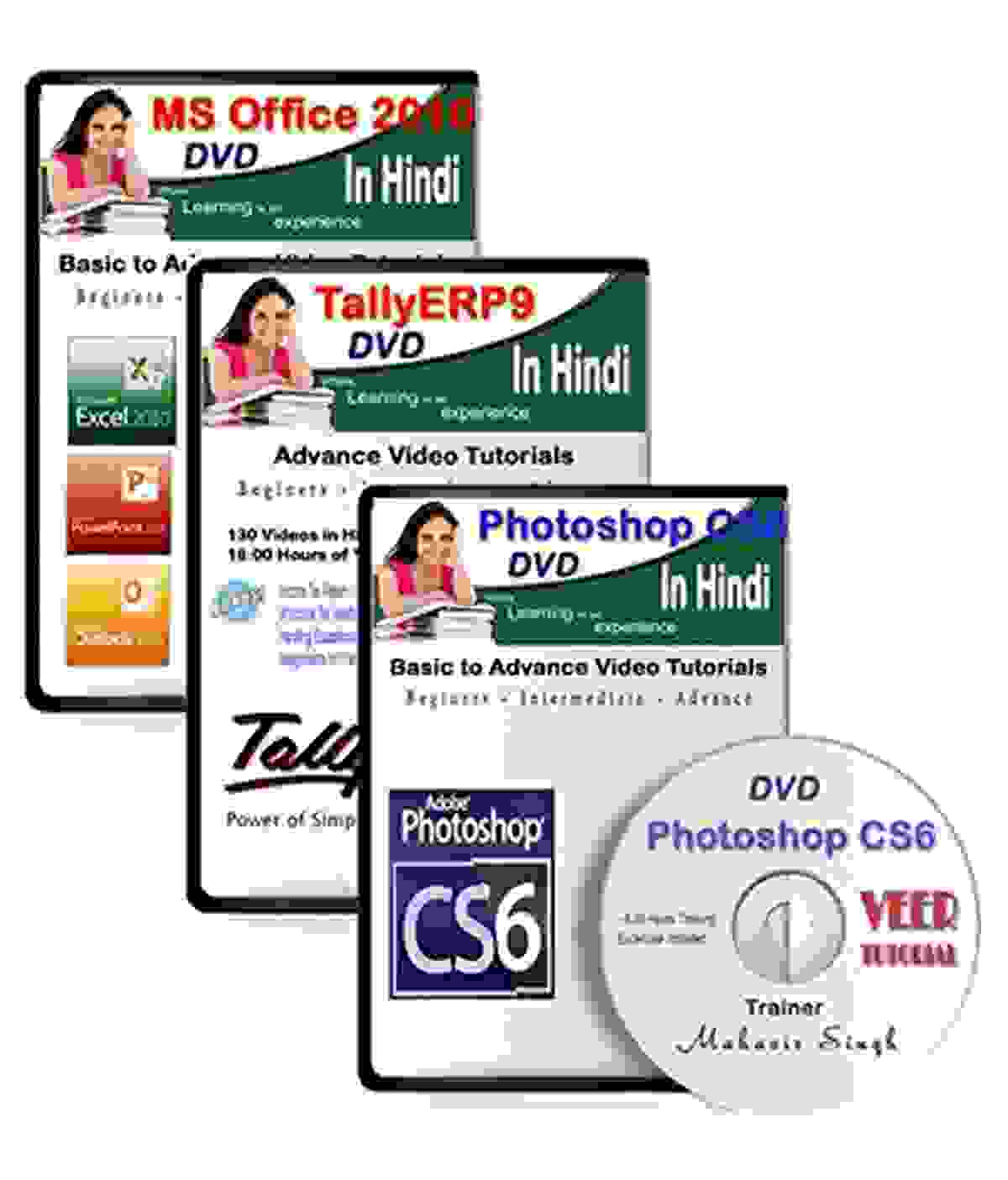TallyERP9 + MS Office 2010 + Photoshop CS6 (34 Hrs Training, 282 Videos) in Hindi(DVD)