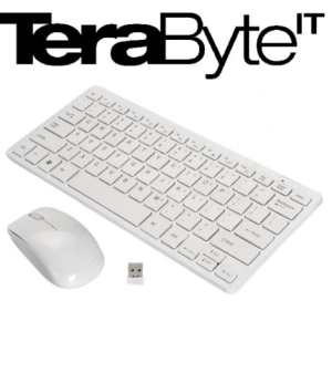 Terabyte White Apple Design 2.4 GHz Mini Wireless Keyboard With Mouse