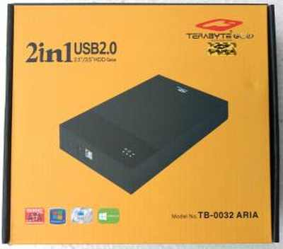 "Terabyte TB0032 ARIA 2 in 1 HDD Casing 2.5"" / 3.5"" Hard Drive SATA USB Enclosure Casing"