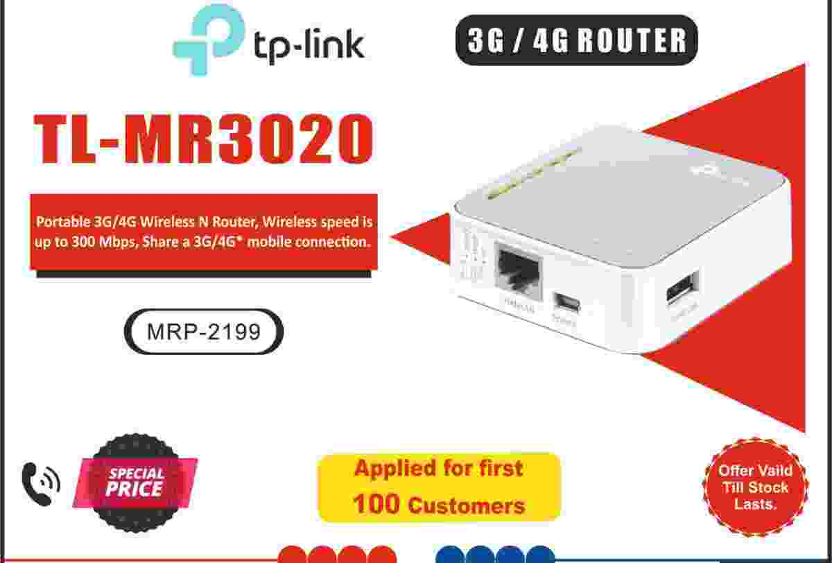 TP-Link TL-MR3020 Wireless 3G/4G 300Mbps Travel-sized Design, Mini USB Port with Access Point/WISP/Router Modes Portable Router