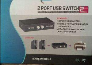 USB 2 Port Manual Share Switch Sharer for Printers, Cameras, Scanner