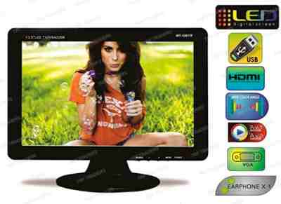 "WORLDTECH LED TV 13.5inch / 12.5"" USB / AV / HDMI / RCA / VGA Monitor Screen LCD"