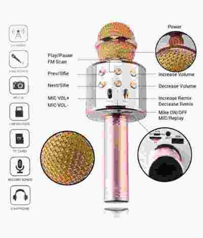 High Quality Sound WS-858 Wireless Handheld Bluetooth Mic with Speaker
