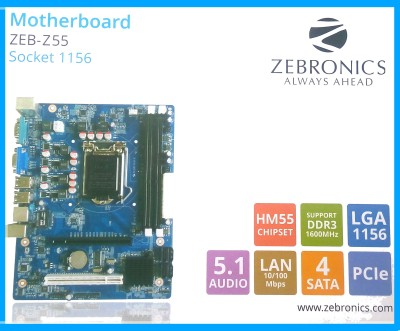 Zebronics H55 for intel i3/i5/i7 CPU Socket 1156 DDR3 Motherboard